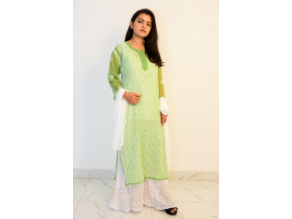 Buy Hand Embroidered Lucknowi Chikan Parrot Green Georgette Kurti